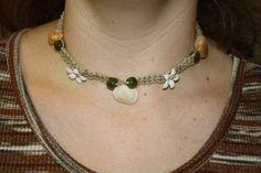 Shell and flower hemp choker with green beads by rachelkappler