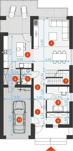 Dostępny 4A - DOMY Z WIZJĄ House Plans, Floor Plans, How To Plan, Ideas, House Floor Plans, Home Floor Plans, Home Plans, Thoughts