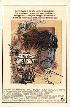 "Breakout 1975 Authentic 27"" x 41"" Original Movie Poster Charles Bronson Drama U.S. One Sheet"