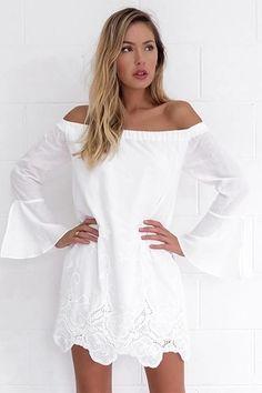 Vestido Ombro a Ombro Bordado na Barra - Compre Online