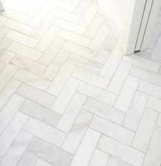//Marmer visgraat vloer - Satin white bathroom floor tile in a herringbone design - Royal Satin White Marble Subway Tile - 4 x 12 in. Room Tiles, Bathroom Floor Tiles, Wall And Floor Tiles, Bathroom Marble, Bathroom Cabinets, Bath Tiles, Bathroom Faucets, Marble Bath, Bathroom Mirrors