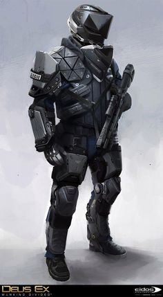 Prague Swat character concept art from Deus Ex: Mankind Divided Prague Swat character concept art from Deus Ex: Mankind Divided [. Futuristic Armour, Futuristic Art, Armor Concept, Concept Art, Deus Ex Mankind Divided, Tactical Armor, Tactical Suit, Arte Robot, Sci Fi Armor