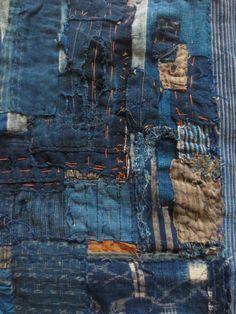 Antique Japanese Indigo Boro Textie - hand woven natural indigo - heavy…