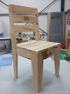 Pallet Designs upcycled pallet chair - But if there is a shortage of budget in home then this DIY pallet wood chair will be terrific addition to home for required sitting needs. Take your hands onto Recycled Pallet Furniture, Wooden Pallet Crafts, Recycled Pallets, Diy Pallet Projects, Wooden Pallets, Furniture Projects, Furniture Plans, Wood Furniture, Pallet Wood