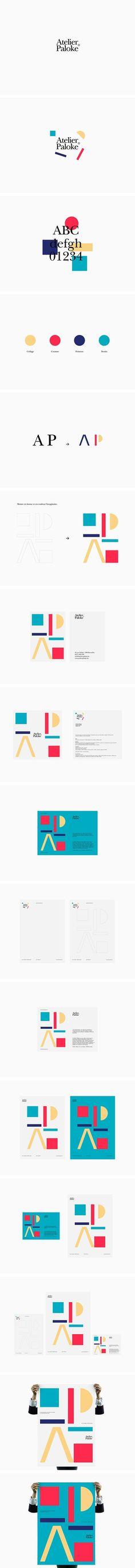 Atelier Paloke, playful geometry branding identity logo stationery business cards design
