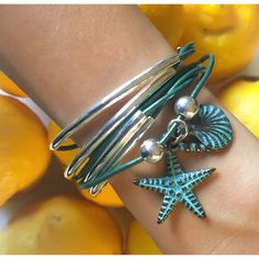 Girlfriend leather wrap bracelet in Metallic Teal leather with Nautical Teal charm Trio, comes as shown