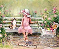 Cat kitten little girl and kitty art for by LaurieShanholtzer, $18.00