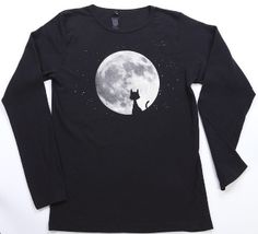 Cat in the Moon Long Sleeve Tee. 100% organic cotton, knit, cut and sewn in the USA featuring water based inks and dyes. #MadeinUSA #Halloween www.nortonsusa.com