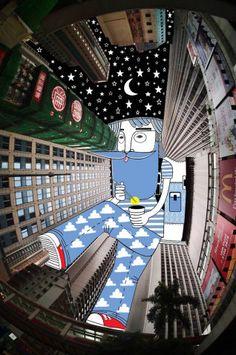 Artista faz desenhos supercriativos no céu, em fotos de edifícios vistos de baixo   Virgula