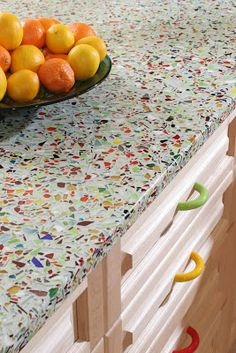 tiles Countertops GAFunkyFarmhouse: Wish List Wednesdays: Vetrazzo Millefiori Recycled Glass Countertop Recycled Glass Countertops, Outdoor Kitchen Countertops, Concrete Countertops, Kitchen Redo, Kitchen Remodel, Glass Kitchen, Glass Bathroom, Kitchen Tiles, Countertop Options