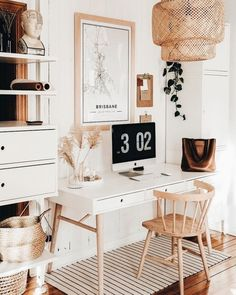 Home Decor Inspiration Clean And Bright Boho Home Office Inspiration Ideas.Home Decor Inspiration Clean And Bright Boho Home Office Inspiration Ideas Home Office Space, Home Office Design, Home Office Decor, Home Design, Office In Bedroom Ideas, Apartment Office, At Home Decor, White Desk Bedroom, Desk Space