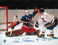 AAA Sports Memorabilia LLC - Eddie Giacomin New York Rangers Autographed  8x10 Photo Inscribed