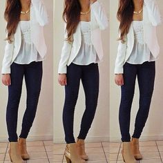 This outfit is so cute, I love the blazer Fashion Moda, Teen Fashion, Love Fashion, Fashion Outfits, Teen Outfits, Work Outfits, Spring Summer Fashion, Autumn Winter Fashion, Spring Outfits