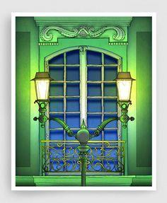 The Guardian of the night - Paris illustration Montmartre Art illustration Giclee art print Poster Paris windows Home decor Wall decor Green