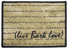 PB Paws & Co. Gold / Black Live Bark Love Tapestry Indoor/Outdoor Area Rug