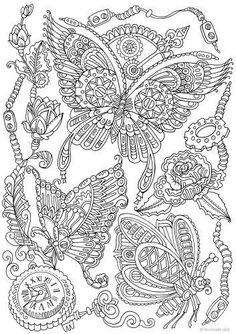 Steampunk Butterflies Adult Coloring Book PagesPrintable