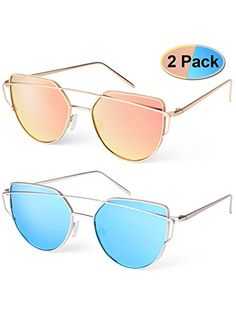 a8398491217 Elimoons Cat Eye Sunglasses 2 Pack Women Mirrored Lenses ... Oversized  Sunglasses