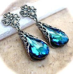 Bermuda Blue Swarovski Crystal Teardrop Post Earrings Antiqued Silver or Gold $38
