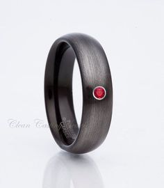 Gunmetal Tungsten Wedding Band, 6mm, Red, Ruby Ring, Satin Polish, Anniversary Ring, Engagement Band, Tungsten Carbide, His, Hers