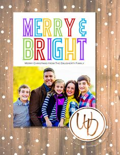 Merry and Bright colorful Christmas card by Wentroth Designs. Visit us on Facebook to request a price quote on your holiday cards, wedding invitations and more!