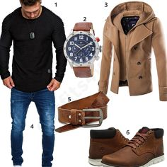 Men's outfit with black Amaci & Sons pullover, Merish jeans, beige coat, Tommy Hilfiger men's wristwatch, brown Volkmer leather belt and Timberland shoes. Source by Timberland Outfits, Timberland Fashion, Tommy Hilfiger, Stylish Mens Fashion, Look Fashion, Stylish Menswear, Fashion Hair, Komplette Outfits, Casual Outfits