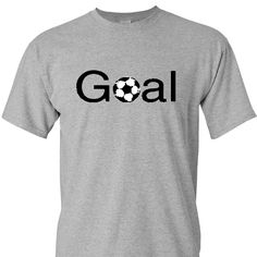 Goal with a Soccer ball on a Sport Grey Short Sleeve T Shirt