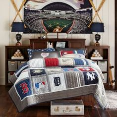 Some cool ideas for the boys baseball room. Make a quilt with shirts and display their memorabilia/items collected from their own games all around them.