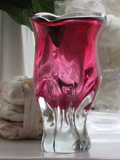Glass Symbol Of The Brand Vintage Chribska Czech Glass Vase Green Pink & White Josef Hospodka