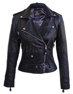 Leather Skin Women Black Brando Genuine Leather Jacket - All About Leather Skin, Biker Leather, Black Leather, Leather Jackets, Motorcycle Leather, Tom Ford Leather Jacket, Leather Collar, Black Biker Jacket, Winter Outfits Women