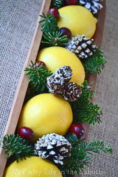 A pretty lemon Christmas centrepiece!  Very simple!                                                                                                                                                                                 Más