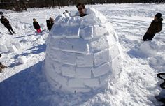 Eli Schleifer builds an igloo on the Cambridge Commons in Cambridge