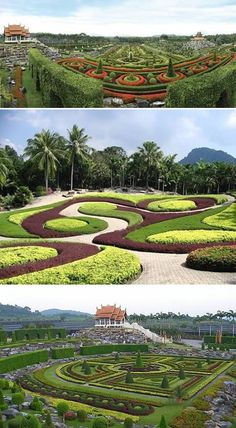 Suan Nong Nooch, Thailand  This incredible park is situated in Pattaya, Thailand. Everything there seems to be from a fairy-tale. It is full of Thai style houses, villas, banquet halls, restaurants and swimming pools. A vast 600 acres area was bought by Mr. Pisit and Mrs. Nongnooch in 1954, this land was predicted to be a fruit plantation, but, Mrs. Nongnooch made a trip abroad and came back with a firm decision to create there a tropical garden