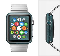 The Vinatge Blue Overlapping Cubes Full-Body Skin Set for the Apple Watch