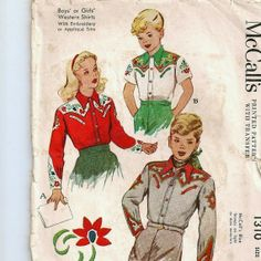 wetern shirt pattern | 1940s Western Shirt Pattern ADORABLE Size 10 ... | Vintage Patterns…