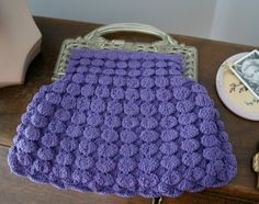 1930s-40s Purple Crocheted Bag with Lucite Handles