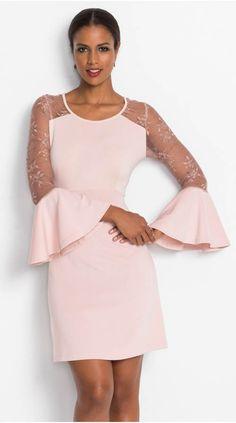 Růžové společenské šaty se zvonovými rukávy 432acd7f87