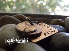 Lucky Us Copper Keychain with two lucky pennies     The squared version