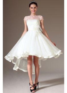 Cap-Sleeves High Low Wedding Dress
