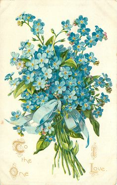 TO THE ONE I LOVE bunch of blue forget-me-nots tied with blue ribbon
