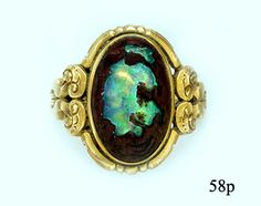 Boulder Opal and Carved Gold Ring Nelson Rarities, Inc Portland, Maine