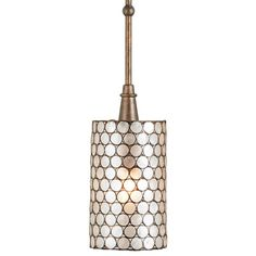"""The Regatta pendant by Currey and Company boasts a beautiful natural capiz shell outer shade framed in wrought iron illuminating the space with a pearlescent glow. The modern silhouette drops from a wrought iron rod. The pendant is hand finished in warm cupertino using a process that lends an air of depth and richness that cannot be achieved by less time-consuming finishing methods.  6""""W x 6""""D x 53""""H  Accepts 1 type B bulb, 60 watt max (not included)  Engineered to meet rigid UL safety…"""