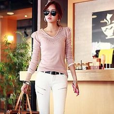 Women's  Fashion  Hot  Drilling  Long Sleeve  T-shirt – USD $ 16.09