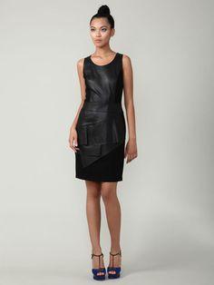 Pink Tartan Perforated Leather Combo Dress