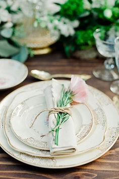 Soft and pretty place setting with a pink rose | Photo by Merari | Styling by Love in Vintage