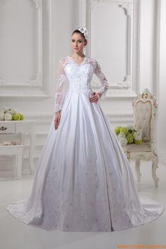 2014 Luxuriöse Maßgeschneiderte Brautkleider aus Satin mit Ärmel