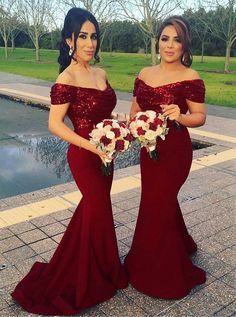 Stylish Off Shoulder Mermaid Red Bridesmaid Dress with Lace ...
