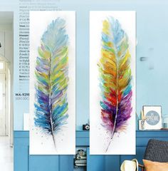 Find More Painting & Calligraphy Information about Modern colored feathers hand painted watercolor original digital inkjet canvas wall art Home Decor,High Quality art style promotional products,China decorative art wall Suppliers, Cheap decorative paper art from WHAT ART on Aliexpress.com