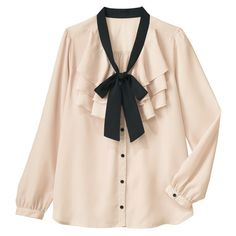 [IMAGE] 2-Color Bow Frilled Blouse Spring 2013 New Item, Ladies' ($48) ❤ liked on Polyvore