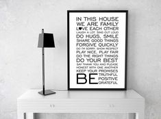 In This House Quote Poster | Home Decor | Wedding Gift | Family Room Decor | Family Quote | Mothers Gift | Housewarming Gift | Digital Print