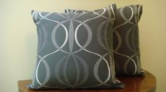 """Contemporary designer 18"""" x 18""""  pillow covers in gray and white, accent pillows"""